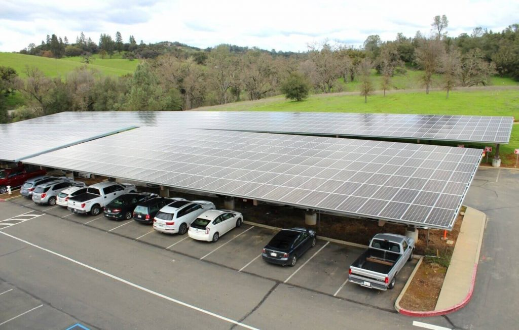Parking lot canopy solar array at Amador Sutter Hospital.